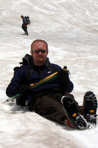 Jon slides to a stop - Mt. St. Helens, WA ... June 30, 2007 ... Photo by Rob Page III