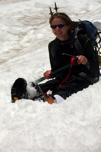 Emily glisades down and is happy to be off the rocks - Mt. St. Helens, WA ... June 30, 2007 ... Photo by Rob Page III