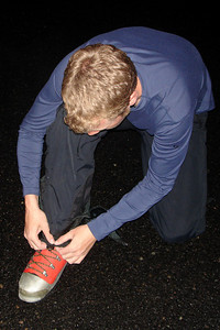 Putting on Gaiters - Mt. St. Helens, WA ... June 29, 2007 ... Photo by Heather Page
