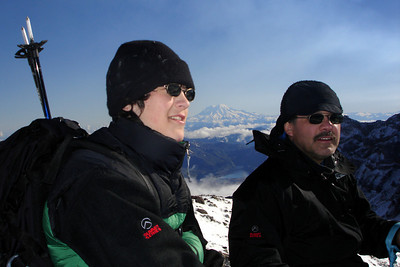 Nick and Bob at the summit of Mt. St. Helens with Mt. Rainier in the background - Mt. St. Helens, WA ... June 30, 2007 ... Photo by Rob Page III