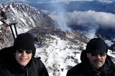 Nick and Bob with the crater rumbling in the background - Mt. St. Helens, WA ... June 30, 2007 ... Photo by Rob Page III