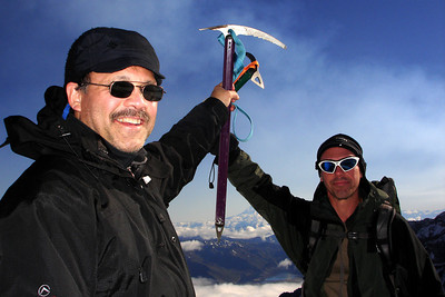 Bob and Dave at the summit - Mt. St. Helens, WA ... June 30, 2007 ... Photo by Rob Page III