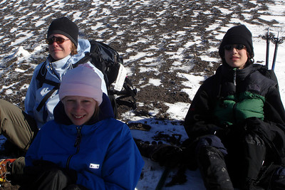 Jen, Emily, and Nick chilling at the summit - Mt. St. Helens, WA ... June 30, 2007 ... Photo by Rob Page III