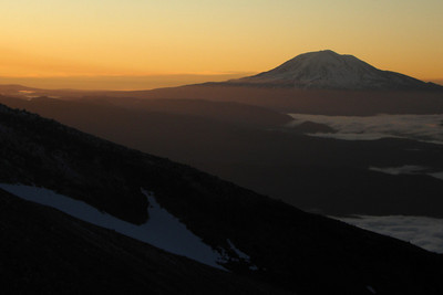 Sunrise behind Mt. Adams - Mt. St. Helens, WA ... June 30, 2007 ... Photo by Rob Page III