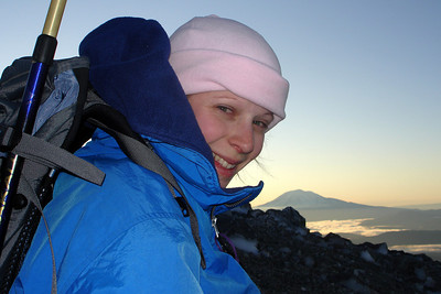 Emily with Mt. Adams in the background - Mt. St. Helens, WA ... June 30, 2007 ... Photo by Rob Page III
