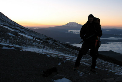 Daryl with Mt. Adams at sunrise - Mt St. Helens, WA ... June 30, 2007