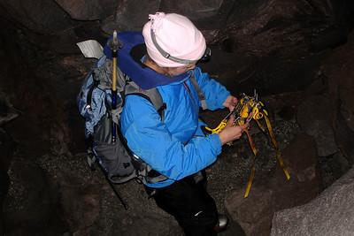 Emily putting on her crampons - Mt. St. Helens, WA ... June 30, 2007 ... Photo by Rob Page III