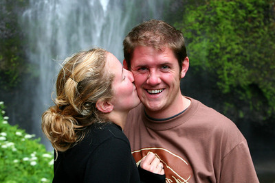 Heather tries to make John blush - Multnomah Falls, OR ... June 29, 2007 ... Photo by Nicole Page