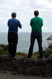 Bob and John staring out to sea - Oregon ... July 2, 2007 ... Photo by Heather Page