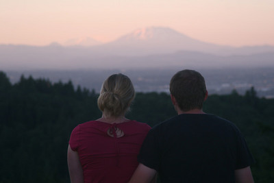 Heather and John watching the sunset - Portland, OR ... July 3, 2007 ... Photo by Rob Page Jr.