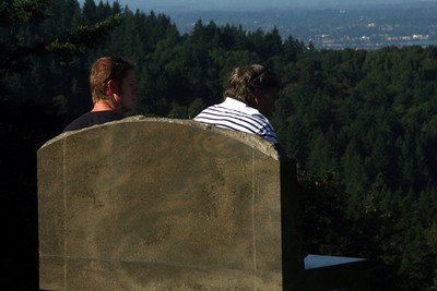 John and Bob looking out over the city - Portland, OR ... July 3, 2007 ... Photo by Heather Page