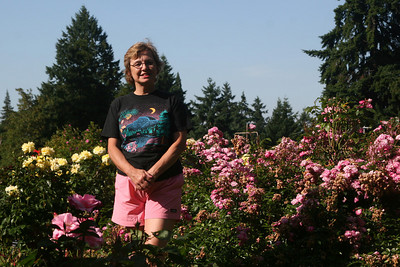 Joyce enjoying the flowers - Portland, OR ... July 3, 2007 ... Photo by Rob Page Jr.