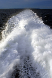 The spray behind our boat on the way to Seattle from Victoria - Seattle, WA ... June 26, 2007 ... Photo by Rob Page III