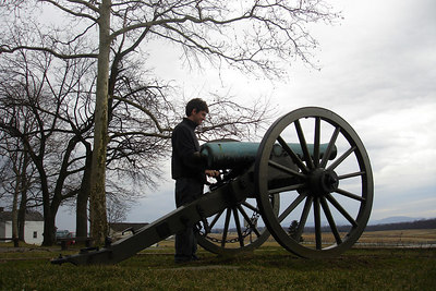 Dermot pretending he is a Civil War soldier - Gettysburg, PA ... January 21, 2006 ... Photo by Rob Page III