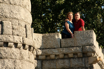 Mom and Dad on a memorial on top of Little Round Top - Gettysburg, PA ... August 16, 2008 ... Photo by Rob Page III