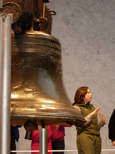 A guide at the Liberty Bell - Philadelphia, PA ... December 29, 2005 ... Photo by Rob Page III