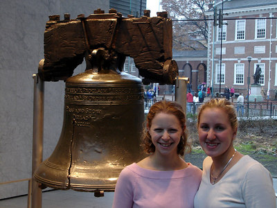 Emily and Heather with the Liberty Bell - Philadelphia, PA ... December 29, 2005 ... Photo by Rob Page III