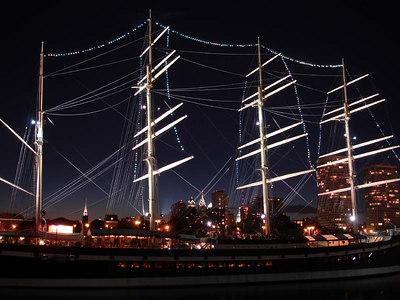 The Moshulu and the city of Philadelphia. - Philadelphia, PA ... September 3, 2005 ... Photo by Rob Page III