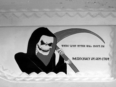 """""""Those who oppose will meet me"""" """"Democracy at any cost""""  A mural in the bowels of the USS New Jersey - Camden, New Jersey ... September 3, 2005 ... Photo by Rob Page III"""