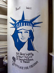 Lady Liberty. A mural in the bowels of the USS New Jersey - Camden, New Jersey ... September 3, 2005 ... Photo by Rob Page III
