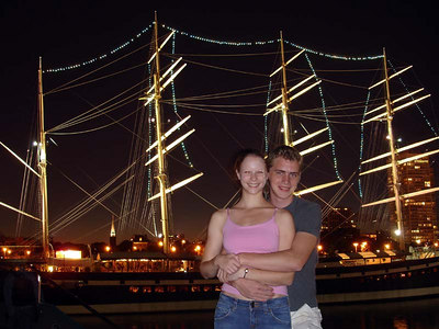 Rob and Emily in front of the Moshulu - Philadelphia, PA ... September 3, 2005 ... Photo by Rob Page III