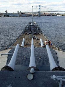 Another tour makes it way across the teak deck on the USS New Jersey - Camden, New Jersey ... September 3, 2005 ... Photo by Rob Page III