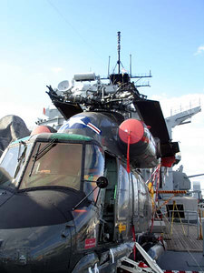 A US Navy helicopter stationed on the USS New Jersey - Camden, New Jersey ... September 3, 2005 ... Photo by Rob Page III