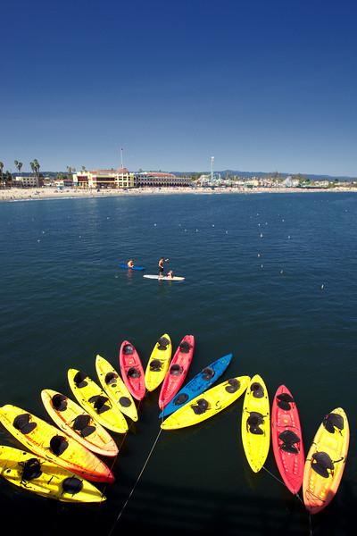 Kayaks at Santa Cruz pier