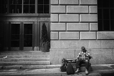 Busker on Wall St  Come on, give him some cash!