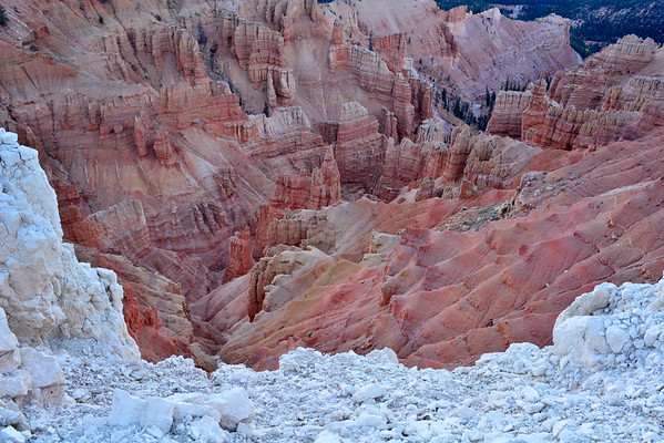 Deep canyon with white rock