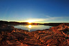 Sun on horizon on Lake Powell