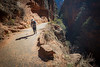 Zion, Angel's Landing - Hikers moving through Refridgerator Canyon