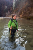 Zion, The Narrows - Happy hiker in river