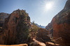 Zion, Angel's Landing - View towards summit with sun star
