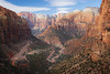 Zion, Canyon Overlook - View of West Temple and Altar of Sacrifice, Including road, second view