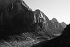 Zion, Angel's Landing - View down valley towards Springdale, black and white