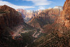 Zion, Canyon Overlook - View of West Temple and Altar of Sacrifice, including road and wider