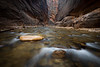 Zion, The Narrows - Two rocks in the middle of the river
