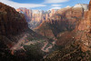 Zion, Canyon Overlook - View of West Temple and Altar of Sacrifice, including road