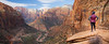 Zion, Canyon Overlook - Woman at Canyon Overlook enjoying the view, pano