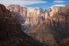 Zion, Canyon Overlook - View of West Temple and Altar of Sacrifice, tight