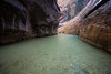 Zion, The Narrows - Small waterfall near start of the hike