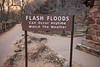 Zion, The Narrows - Flash floods warning sign at entrance to Riverside Walk