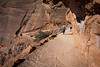 Zion, Angel's Landing - Hikers on switchbacks ascending to the landing