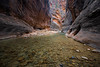 Zion, The Narrows - Still and clear water in the river
