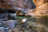 Zion, The Narrows - Large boulder in river