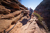 Zion, Angel's Landing - Woman descending chains near base of climb