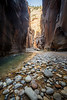 Zion, The Narrows - Tall canyon walls beneath bright section