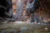 Zion, The Narrows - Two tiny hikers beneath huge rock formations