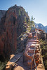 Zion, Angel's Landing - Woman climbing Step of Faith, 3